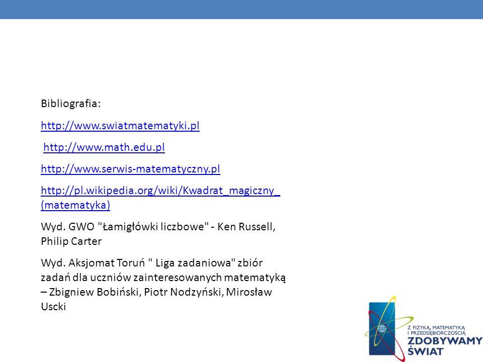 Bibliografia: http://www.swiatmatematyki.pl http://www.math.edu.pl http://www.serwis-matematyczny.pl http://pl.wikipedia.org/wiki/Kwadrat_magiczny_ (m