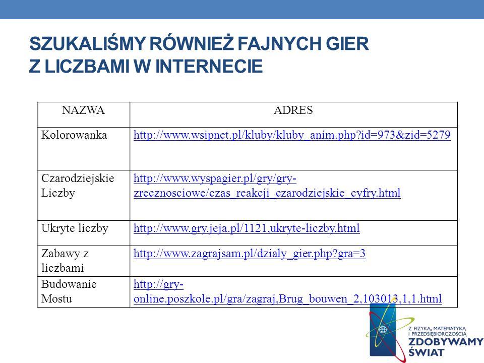 SZUKALIŚMY RÓWNIEŻ FAJNYCH GIER Z LICZBAMI W INTERNECIE NAZWAADRES Kolorowankahttp://www.wsipnet.pl/kluby/kluby_anim.php?id=973&zid=5279 Czarodziejski