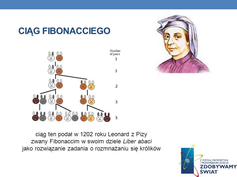 CIĄG FIBONACCIEGO ciąg ten podał w 1202 roku Leonard z Pizy zwany Fibonaccim w swoim dziele Liber abaci jako rozwiązanie zadania o rozmnażaniu się kró