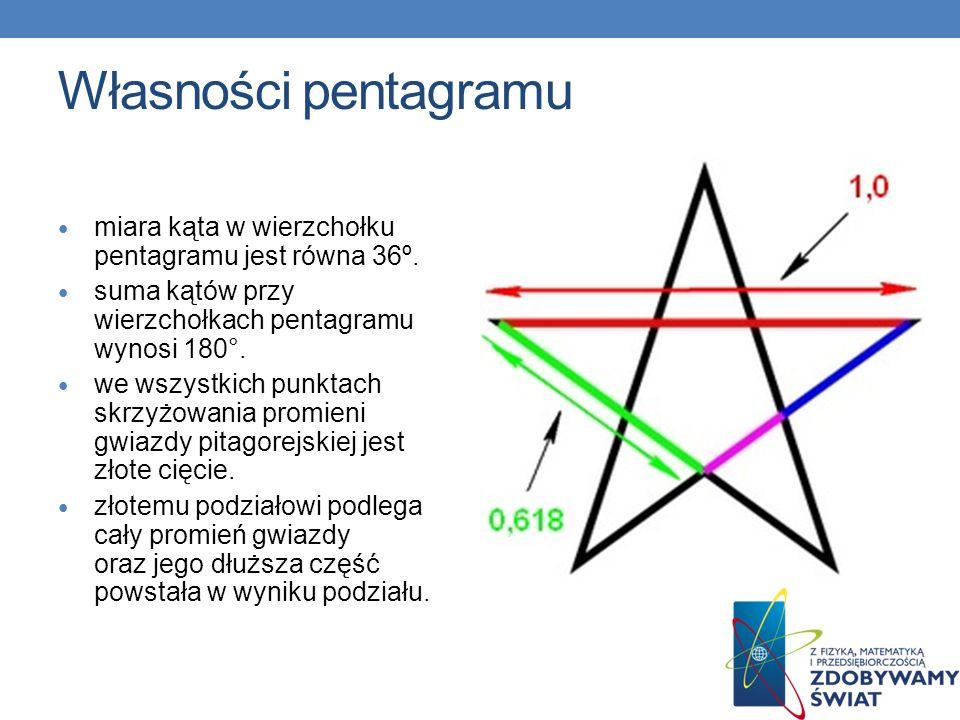 Własności pentagramu miara kąta w wierzchołku pentagramu jest równa 36º. suma kątów przy wierzchołkach pentagramu wynosi 180°. we wszystkich punktach