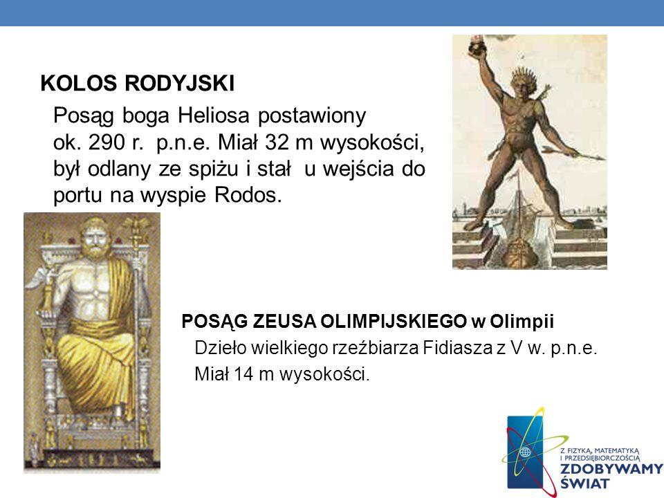 KOLOS RODYJSKI Posąg boga Heliosa postawiony ok. 290 r. p.n.e. Miał 32 m wysokości, był odlany ze spiżu i stał u wejścia do portu na wyspie Rodos. POS