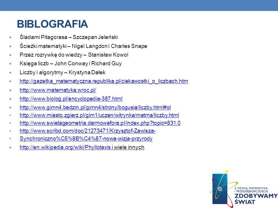 BIBLOGRAFIA Śladami Pitagorasa – Szczepan Jeleński Ścieżki matematyki – Nigel Langdon i Charles Snape Przez rozrywkę do wiedzy – Stanisław Kowol Księg
