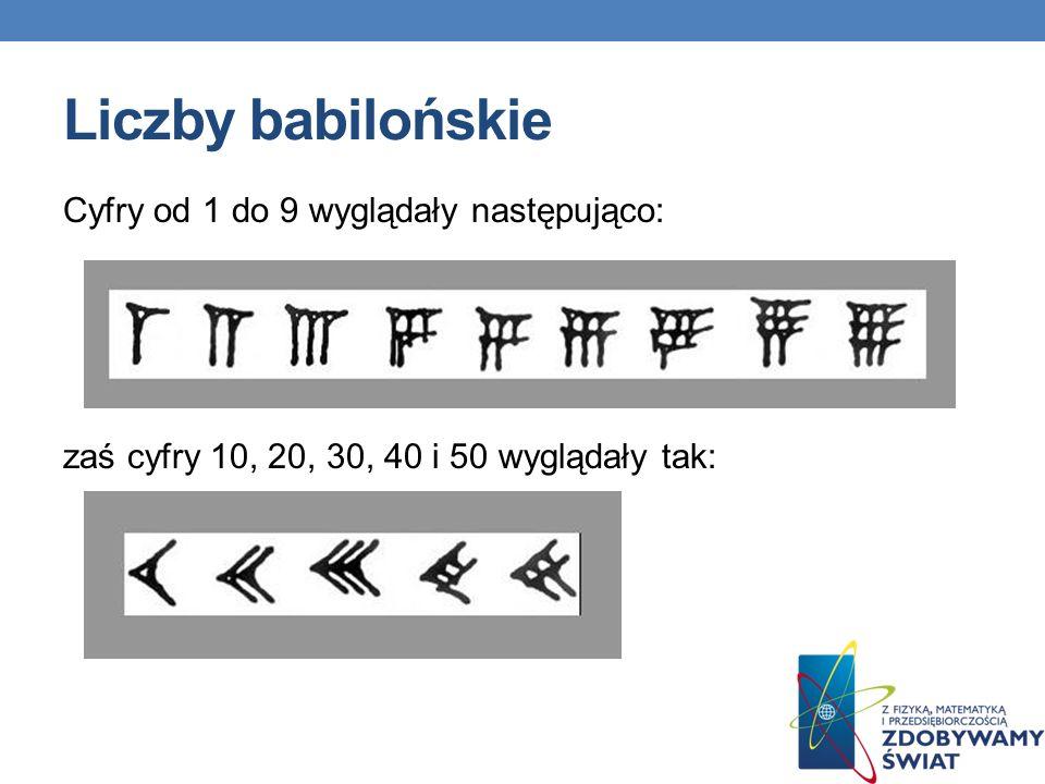 Liczby babilońskie Cyfry od 1 do 9 wyglądały następująco: zaś cyfry 10, 20, 30, 40 i 50 wyglądały tak: