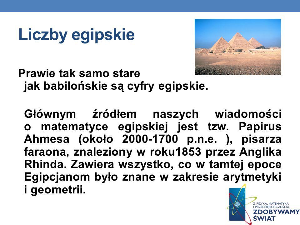 Liczby egipskie Prawie tak samo stare jak babilońskie są cyfry egipskie. Głównym źródłem naszych wiadomości o matematyce egipskiej jest tzw. Papirus A