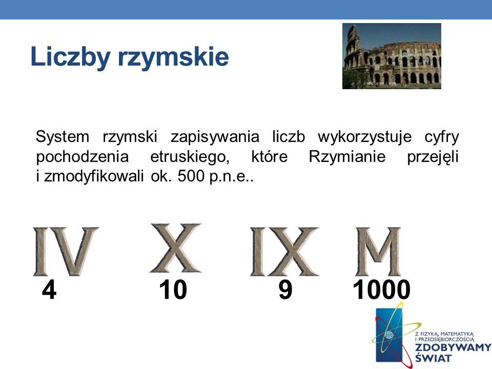 Liczby rzymskie System rzymski zapisywania liczb wykorzystuje cyfry pochodzenia etruskiego, które Rzymianie przejęli i zmodyfikowali ok. 500 p.n.e.. 4