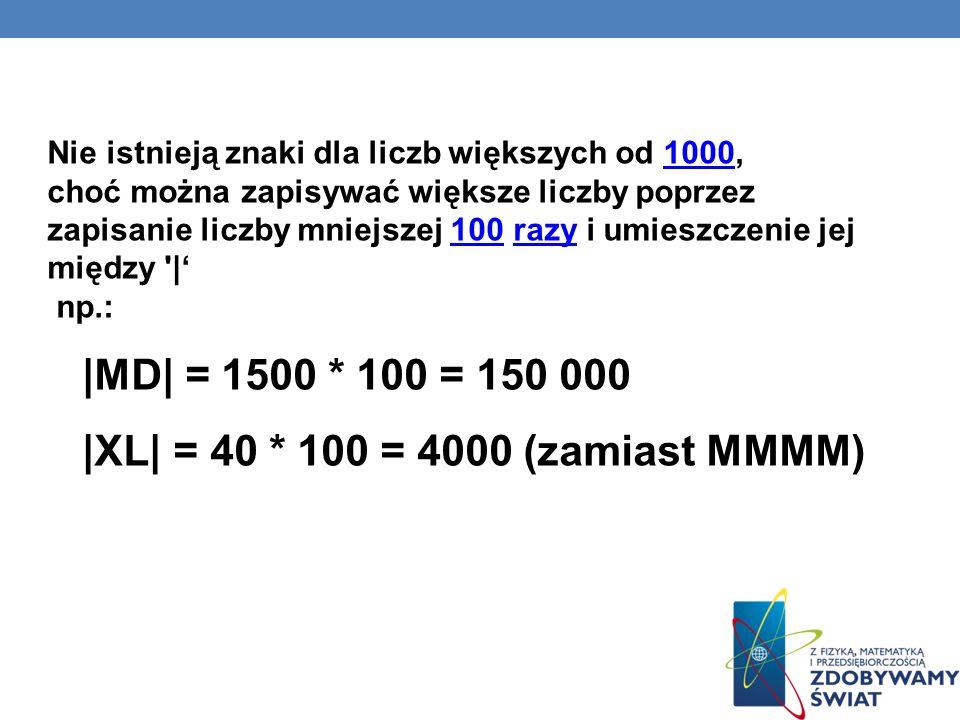 Nie istnieją znaki dla liczb większych od 1000, choć można zapisywać większe liczby poprzez zapisanie liczby mniejszej 100 razy i umieszczenie jej mię
