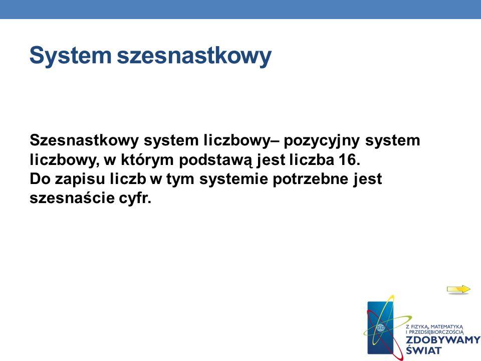 System szesnastkowy Szesnastkowy system liczbowy– pozycyjny system liczbowy, w którym podstawą jest liczba 16. Do zapisu liczb w tym systemie potrzebn