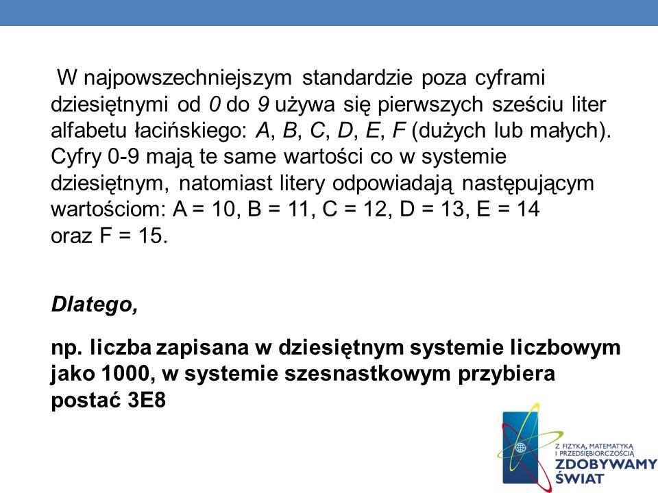 W najpowszechniejszym standardzie poza cyframi dziesiętnymi od 0 do 9 używa się pierwszych sześciu liter alfabetu łacińskiego: A, B, C, D, E, F (dużyc