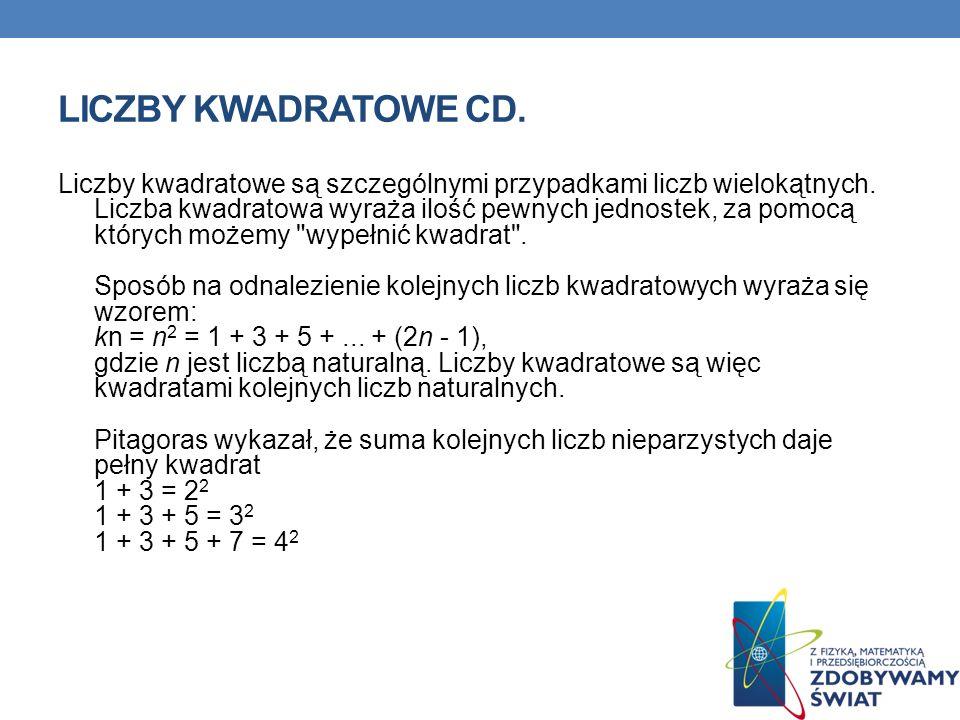 LICZBY KWADRATOWE CD. Liczby kwadratowe są szczególnymi przypadkami liczb wielokątnych. Liczba kwadratowa wyraża ilość pewnych jednostek, za pomocą kt