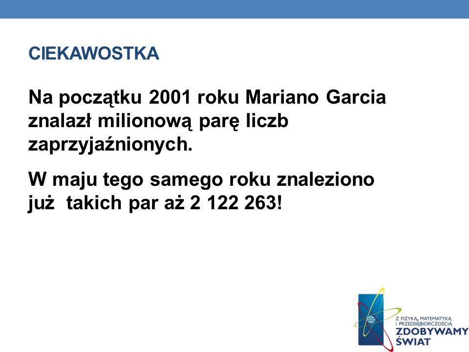 CIEKAWOSTKA Na początku 2001 roku Mariano Garcia znalazł milionową parę liczb zaprzyjaźnionych. W maju tego samego roku znaleziono już takich par aż 2