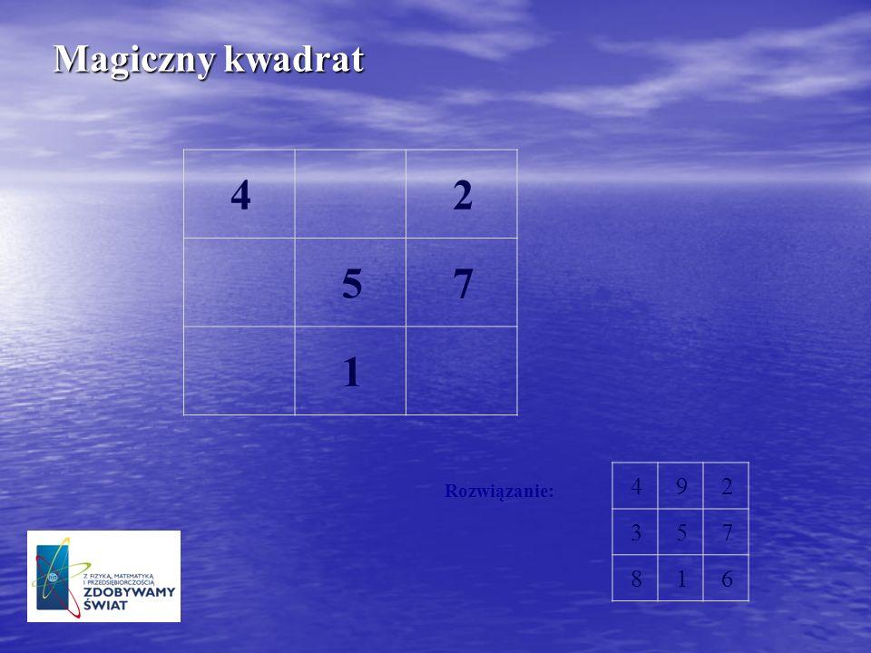 Magiczny kwadrat 492 357 816 Rozwiązanie: 42 57 1