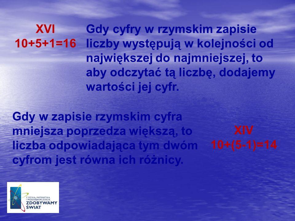 XVI 10+5+1=16 Gdy cyfry w rzymskim zapisie liczby występują w kolejności od największej do najmniejszej, to aby odczytać tą liczbę, dodajemy wartości