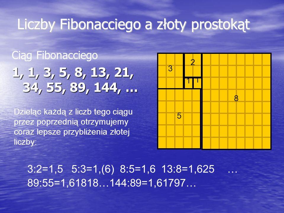 Liczby Fibonacciego a złoty prostokąt Ciąg Fibonacciego 1, 1, 3, 5, 8, 13, 21, 34, 55, 89, 144, … 8 1 1 2 3 5 Dzieląc każdą z liczb tego ciągu przez p