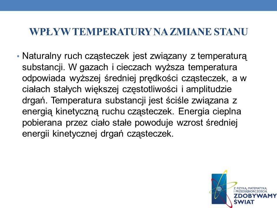 WPŁYW TEMPERATURY NA ZMIANE STANU Naturalny ruch cząsteczek jest związany z temperaturą substancji.