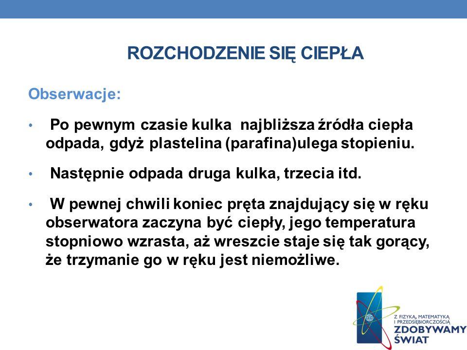 Obserwacje: Po pewnym czasie kulka najbliższa źródła ciepła odpada, gdyż plastelina (parafina)ulega stopieniu.