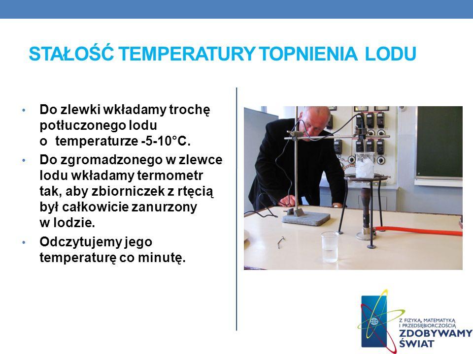 STAŁOŚĆ TEMPERATURY TOPNIENIA LODU Do zlewki wkładamy trochę potłuczonego lodu o temperaturze -5-10°C.