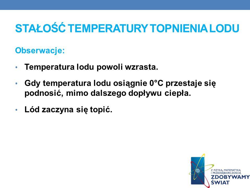 STAŁOŚĆ TEMPERATURY TOPNIENIA LODU Obserwacje: Temperatura lodu powoli wzrasta.