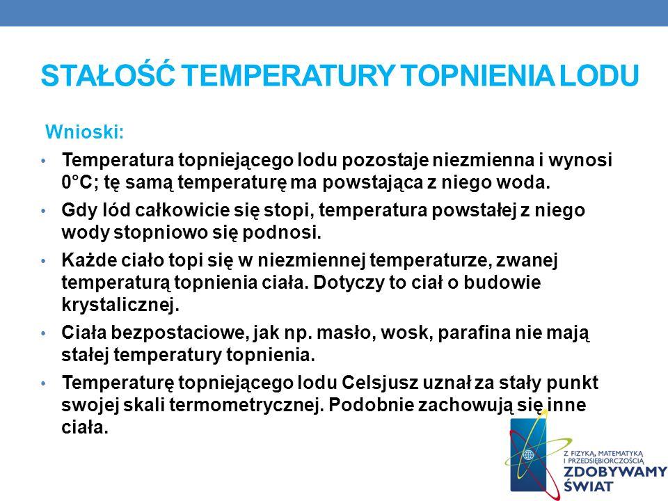 Wnioski: Temperatura topniejącego lodu pozostaje niezmienna i wynosi 0°C; tę samą temperaturę ma powstająca z niego woda.