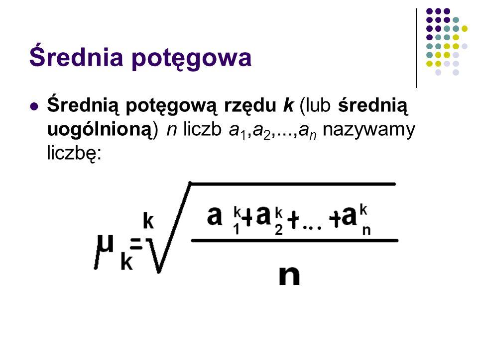 Średnia potęgowa Średnią potęgową rzędu k (lub średnią uogólnioną) n liczb a 1,a 2,...,a n nazywamy liczbę: