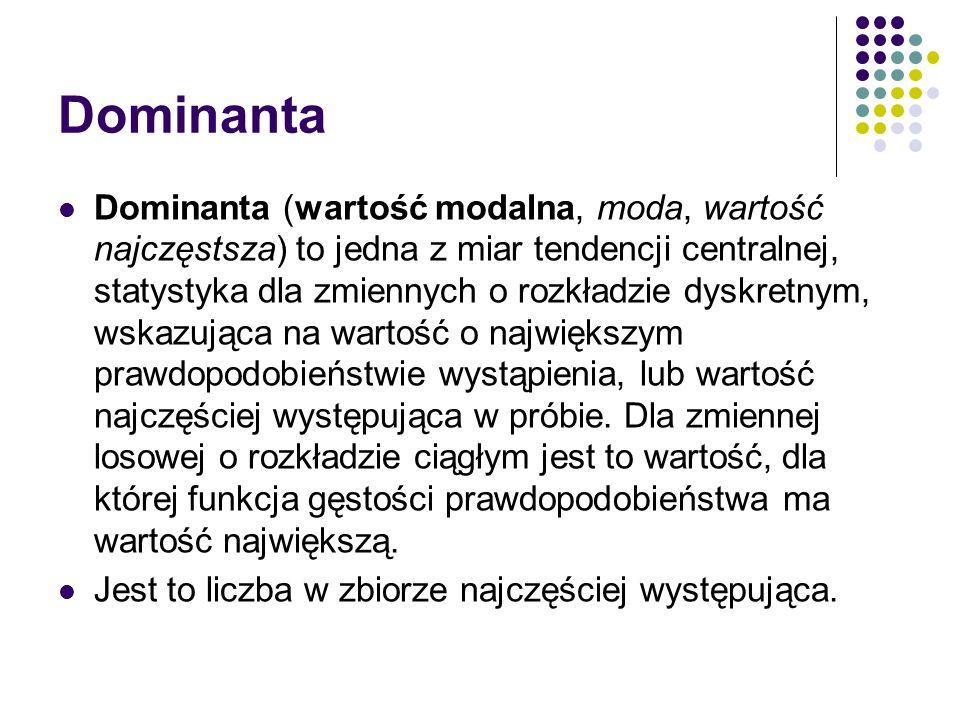Dominanta Dominanta (wartość modalna, moda, wartość najczęstsza) to jedna z miar tendencji centralnej, statystyka dla zmiennych o rozkładzie dyskretny
