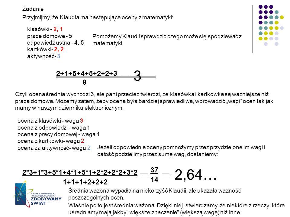 Zadanie Przyjmijmy, że Klaudia ma następujące oceny z matematyki: klasówki - 2, 1 prace domowe - 5 odpowiedź ustna - 4, 5 kartkówki- 2, 2 aktywność- 3