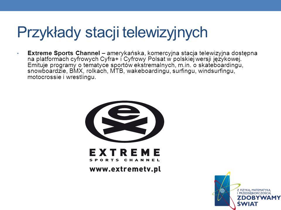 Przykłady stacji telewizyjnych TV Puls (Telewizja Puls, potocznie Puls, do 2 października 2009 oficjalna nazwa Puls, od 25 czerwca do 6 grudnia 2003 nadawała pod nazwą TV Niepokalanów Puls) – polska komercyjna stacja telewizyjna, uruchomiona 18 marca 2001.