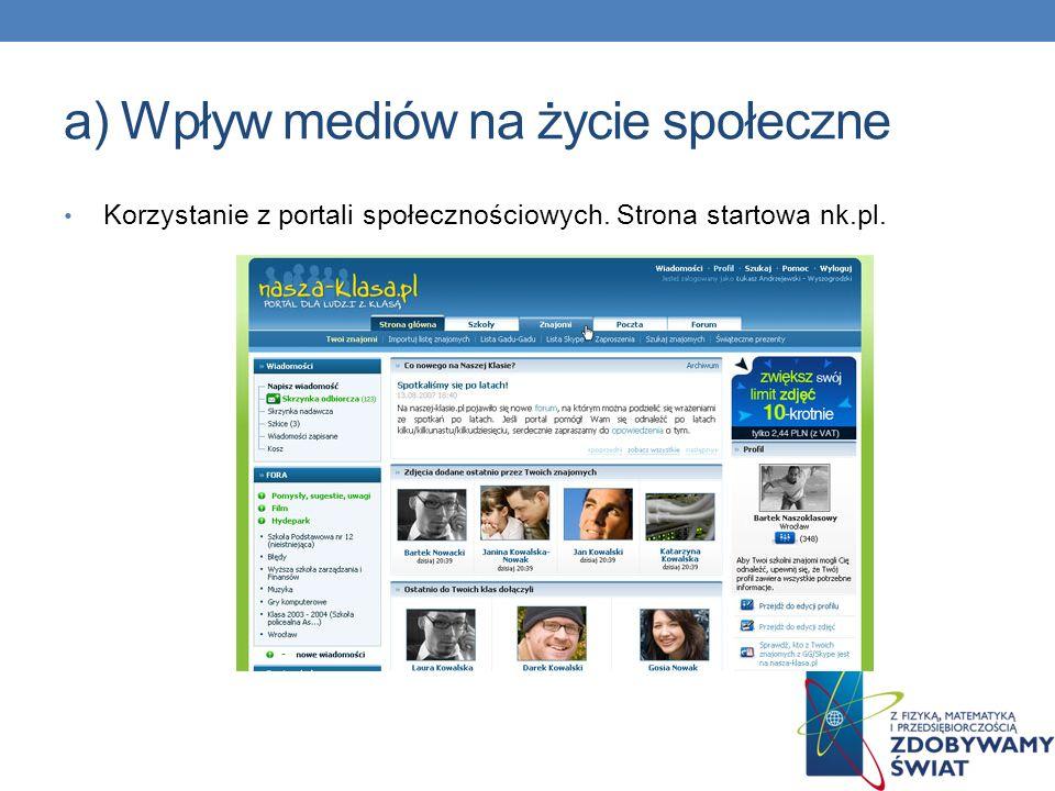 Korzystanie z portali społecznościowych. Strona startowa facebook.pl.