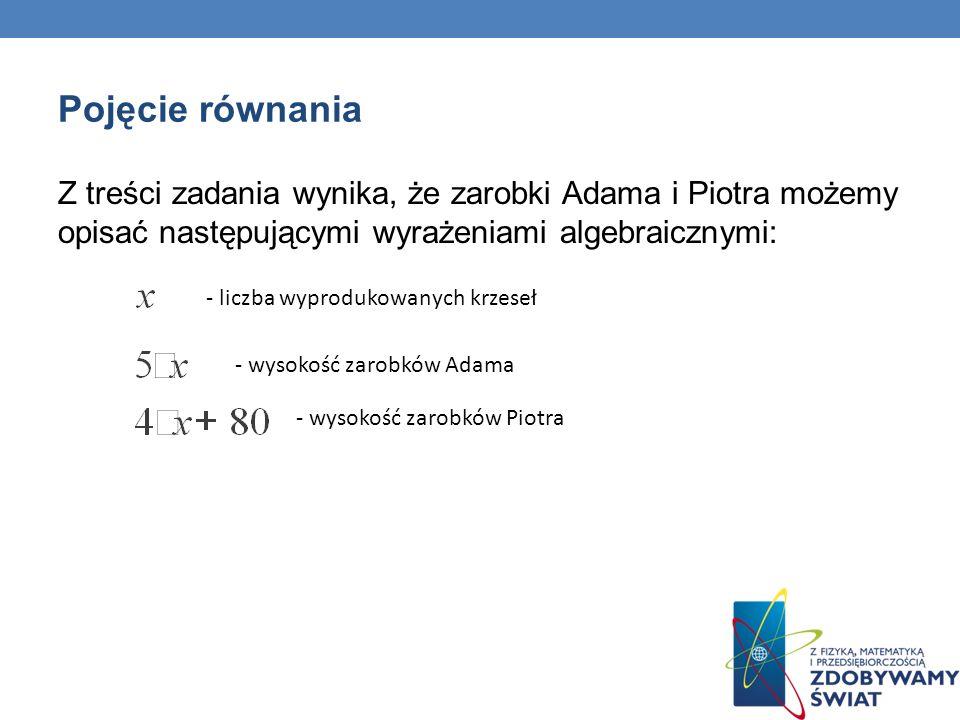 Pojęcie równania Przeanalizujmy przykładowe wartości powstałych wyrażeń algebraicznych.