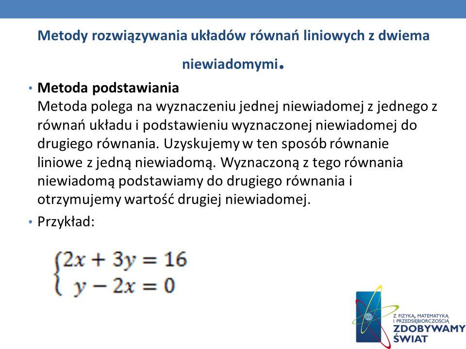 Metody rozwiązywania układów równań liniowych z dwiema niewiadomymi. Metoda podstawiania Metoda polega na wyznaczeniu jednej niewiadomej z jednego z r
