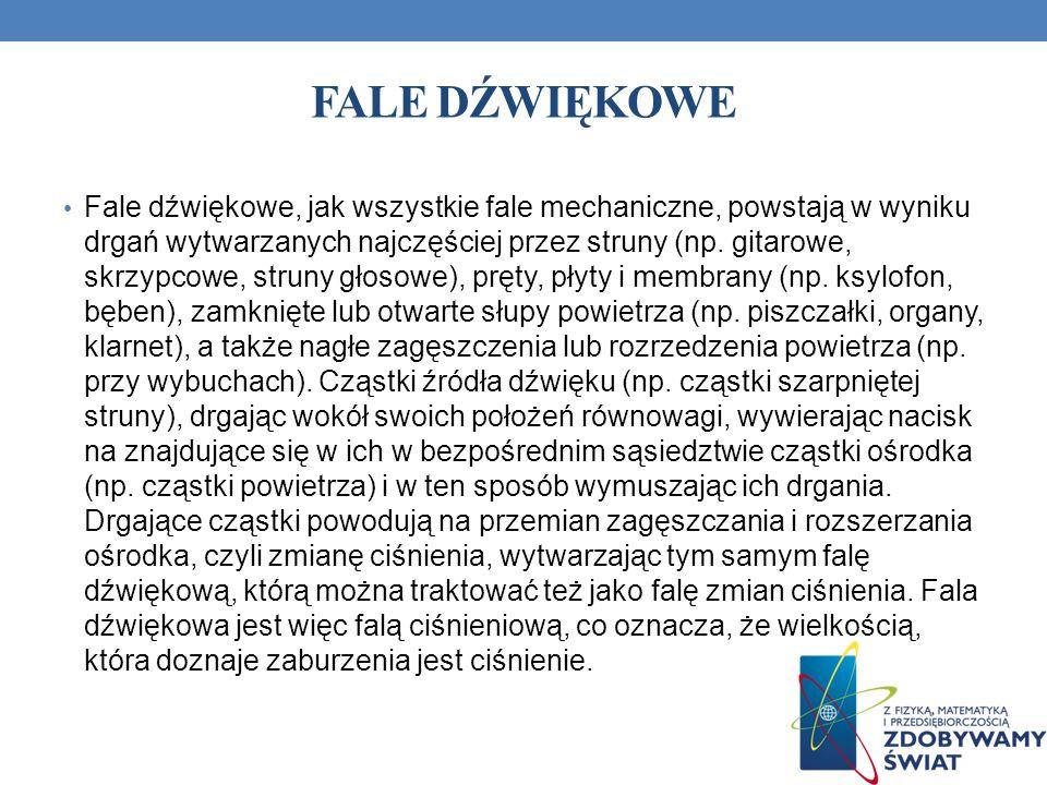 FALE DŹWIĘKOWE Fale dźwiękowe, jak wszystkie fale mechaniczne, powstają w wyniku drgań wytwarzanych najczęściej przez struny (np. gitarowe, skrzypcowe