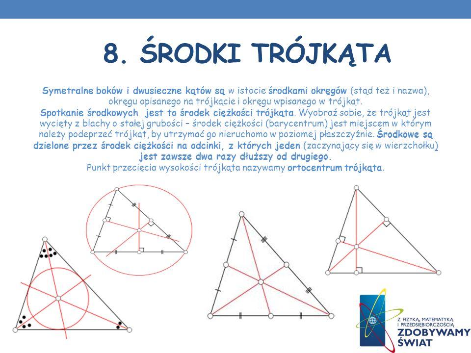 8. ŚRODKI TRÓJKĄTA Symetralne boków i dwusieczne kątów są w istocie środkami okręgów (stąd też i nazwa), okręgu opisanego na trójkącie i okręgu wpisan