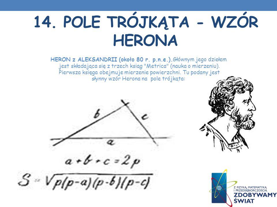 14.POLE TRÓJKĄTA - WZÓR HERONA HERON z ALEKSANDRII (około 80 r.