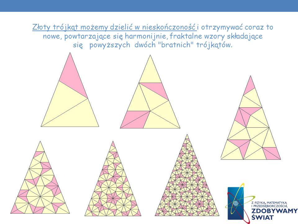 Złoty trójkąt możemy dzielić w nieskończoność i otrzymywać coraz to nowe, powtarzające się harmonijnie, fraktalne wzory składające się powyższych dwóch bratnich trójkątów.