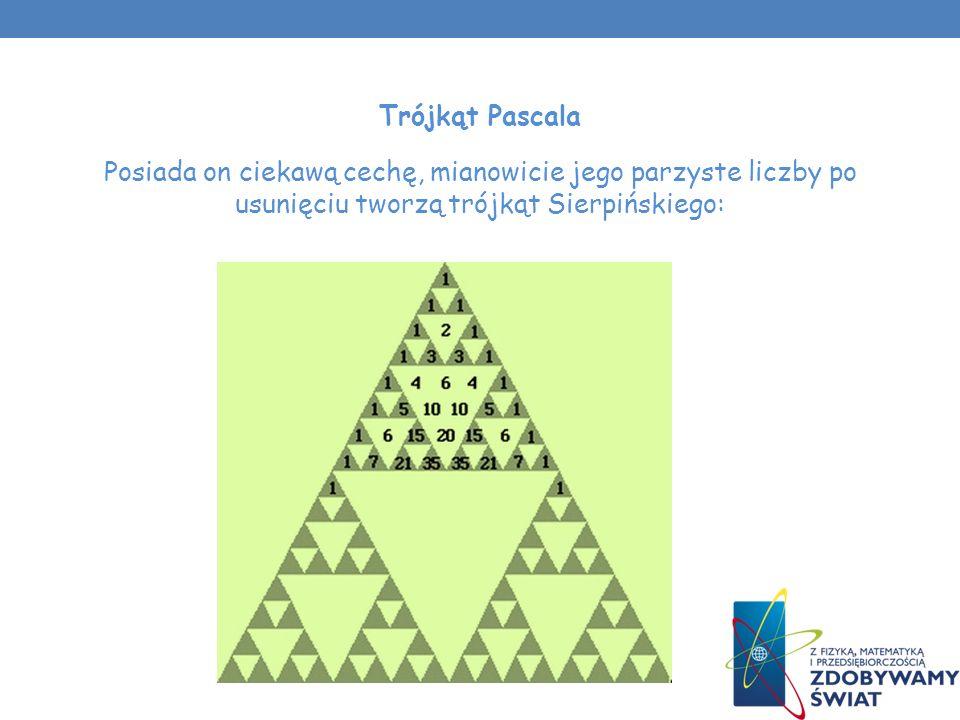 Trójkąt Pascala Posiada on ciekawą cechę, mianowicie jego parzyste liczby po usunięciu tworzą trójkąt Sierpińskiego: