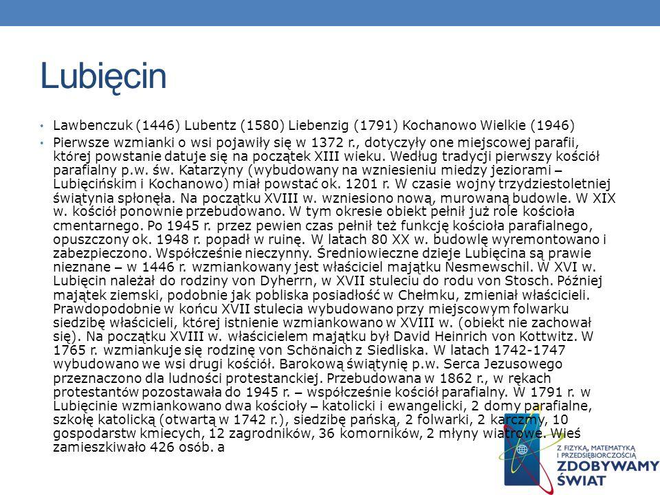 Lubięcin Lawbenczuk (1446) Lubentz (1580) Liebenzig (1791) Kochanowo Wielkie (1946) Pierwsze wzmianki o wsi pojawiły się w 1372 r., dotyczyły one miej
