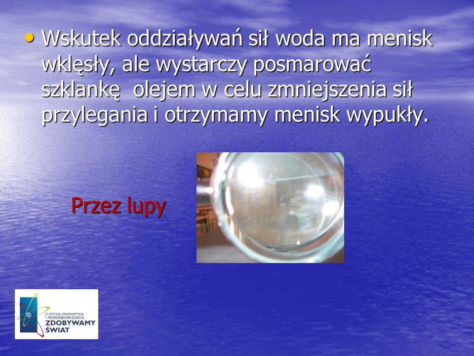 Wskutek oddziaływań sił woda ma menisk wklęsły, ale wystarczy posmarować szklankę olejem w celu zmniejszenia sił przylegania i otrzymamy menisk wypukł