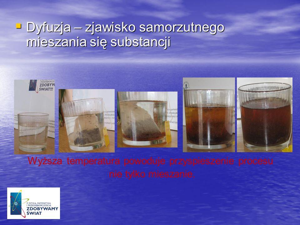 Dyfuzja – zjawisko samorzutnego mieszania się substancji Dyfuzja – zjawisko samorzutnego mieszania się substancji Wyższa temperatura powoduje przyspie