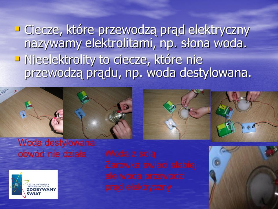 Ciecze, które przewodzą prąd elektryczny nazywamy elektrolitami, np. słona woda. Ciecze, które przewodzą prąd elektryczny nazywamy elektrolitami, np.