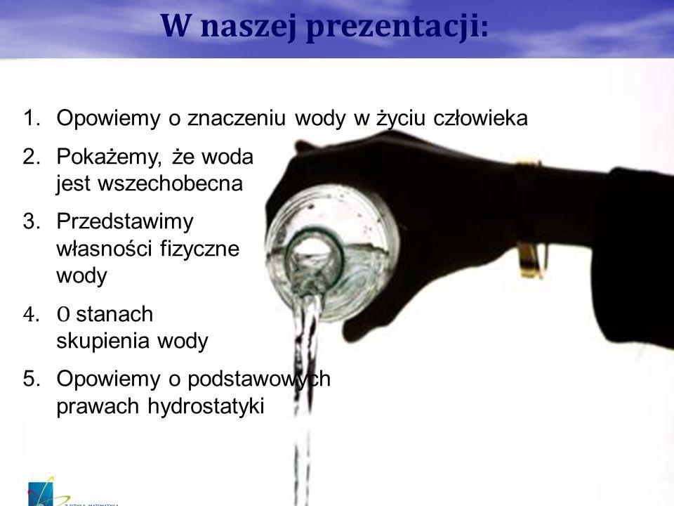 W naszej prezentacji: 1.Opowiemy o znaczeniu wody w życiu człowieka 2.Pokażemy, że woda jest wszechobecna 3.Przedstawimy własności fizyczne wody 4.O s