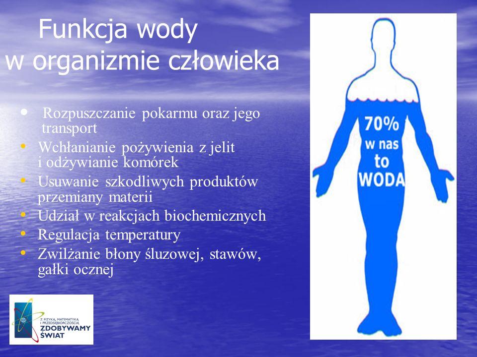 Funkcja wody w organizmie człowieka Rozpuszczanie pokarmu oraz jego transport Wchłanianie pożywienia z jelit i odżywianie komórek Usuwanie szkodliwych