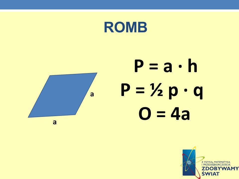 ROMB a a P = a · h P = ½ p · q O = 4a