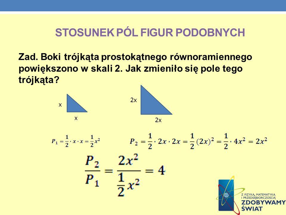 STOSUNEK PÓL FIGUR PODOBNYCH Zad. Boki trójkąta prostokątnego równoramiennego powiększono w skali 2. Jak zmieniło się pole tego trójkąta? x x 2x