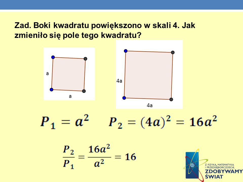 Zad. Boki kwadratu powiększono w skali 4. Jak zmieniło się pole tego kwadratu? a a 4a