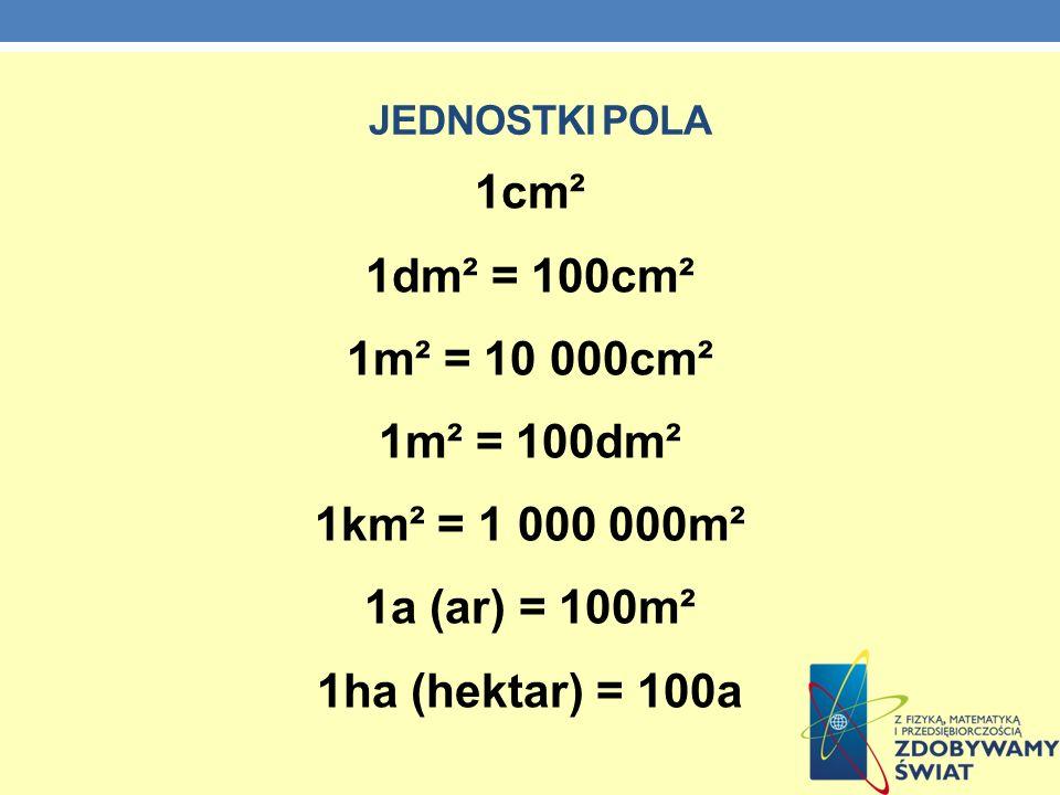 JEDNOSTKI POLA 1cm² 1dm² = 100cm² 1m² = 10 000cm² 1m² = 100dm² 1km² = 1 000 000m² 1a (ar) = 100m² 1ha (hektar) = 100a