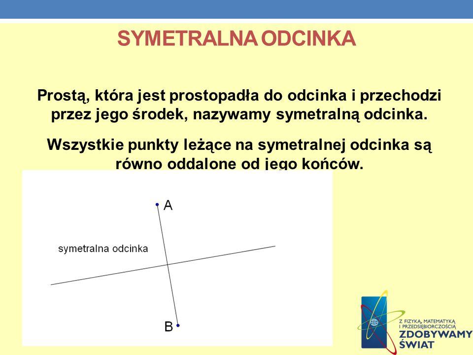 SYMETRALNA ODCINKA Prostą, która jest prostopadła do odcinka i przechodzi przez jego środek, nazywamy symetralną odcinka. Wszystkie punkty leżące na s