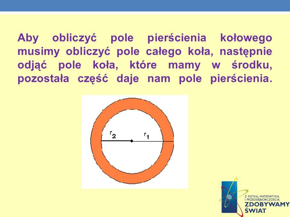 Aby obliczyć pole pierścienia kołowego musimy obliczyć pole całego koła, następnie odjąć pole koła, które mamy w środku, pozostała część daje nam pole