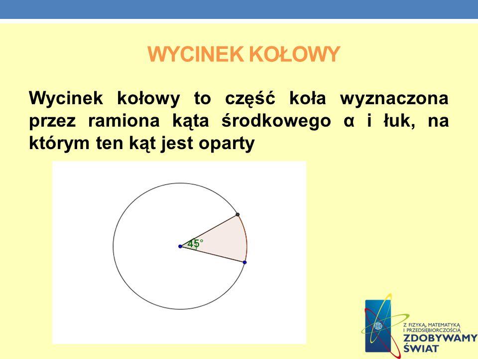 WYCINEK KOŁOWY Wycinek kołowy to część koła wyznaczona przez ramiona kąta środkowego α i łuk, na którym ten kąt jest oparty