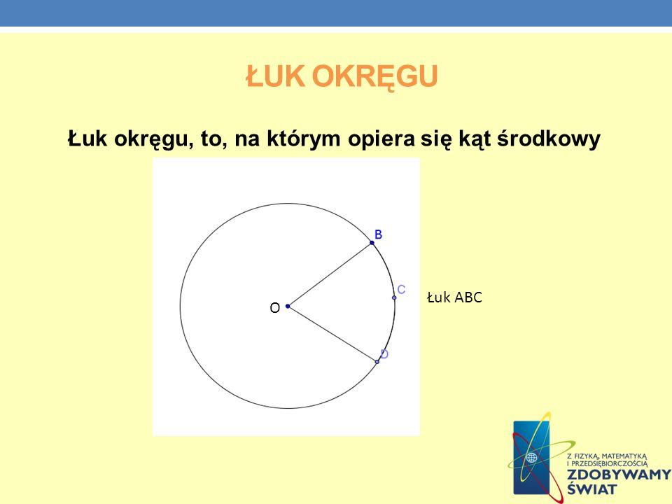ŁUK OKRĘGU Łuk okręgu, to, na którym opiera się kąt środkowy Łuk ABC O