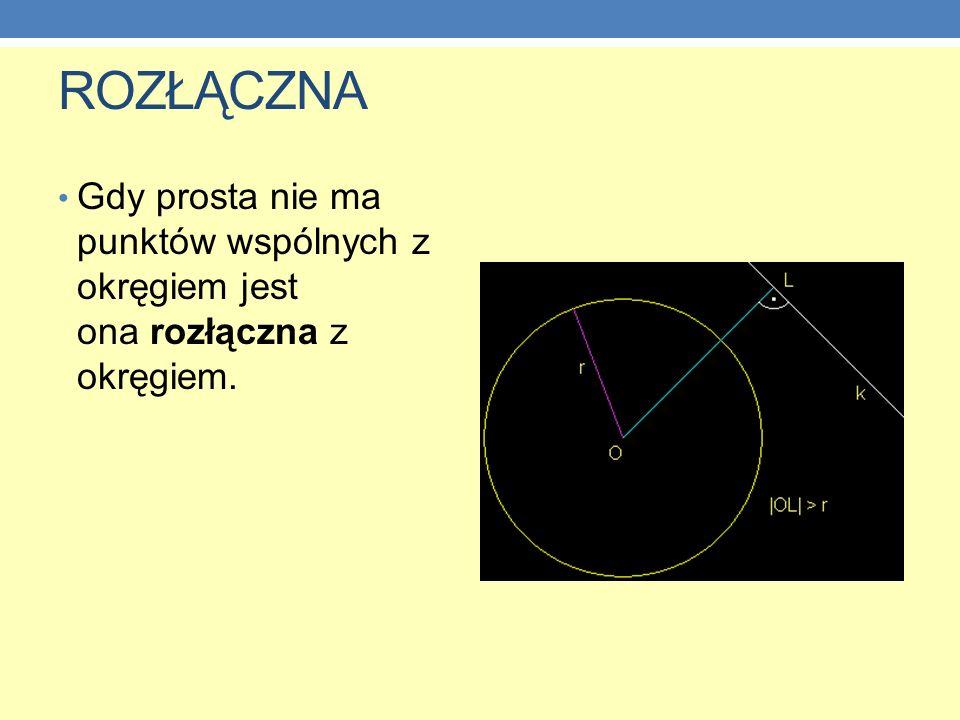 ROZŁĄCZNA Gdy prosta nie ma punktów wspólnych z okręgiem jest ona rozłączna z okręgiem.