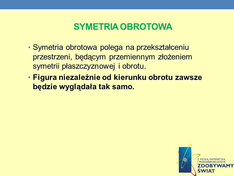SYMETRIA OBROTOWA Symetria obrotowa polega na przekształceniu przestrzeni, będącym przemiennym złożeniem symetrii płaszczyznowej i obrotu. Symetria ob
